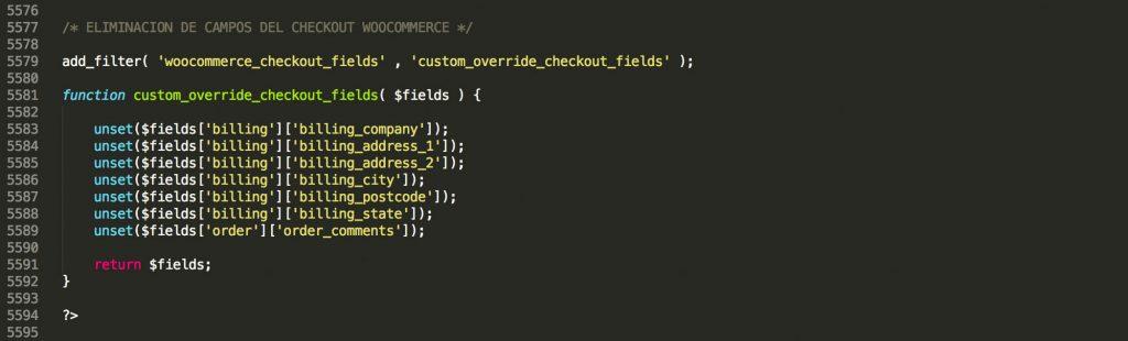 Código para modificar checkout WooCommerce